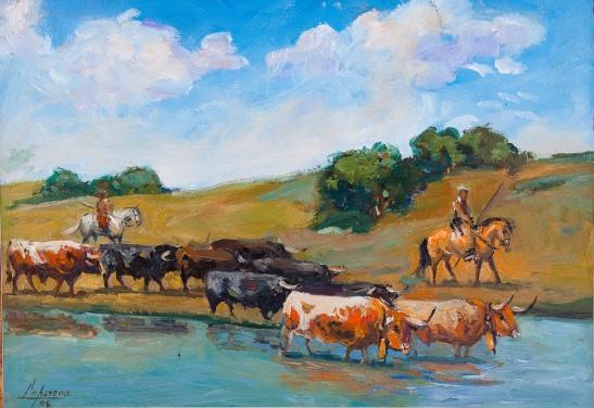 AL-toros vadeando un rio-oleo-60x42